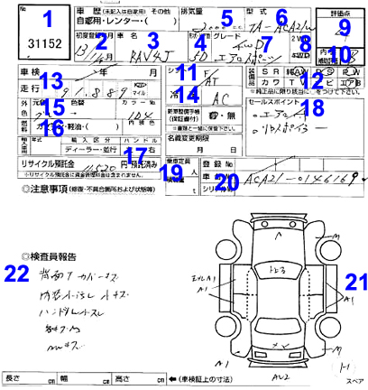 Japan Car Auction Sheet
